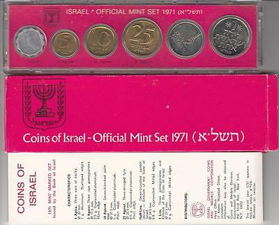 1971 Bank Of Israel Official Mint Set - 6 Marked Coins + Case + Coa