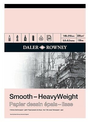 DALER ROWNEY SMOOTH HEAVYWEIGHT CARTRIDGE PAD - A5 (220gsm)