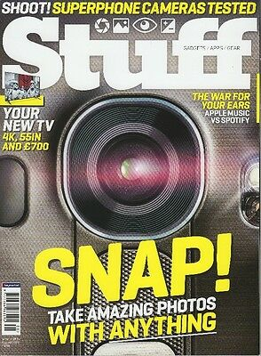 "Stuff Magazine August 2015 Phone Cameras tested, Apple Music v Spotify, 4K 55""TV"