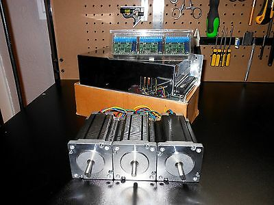 Gecko G251X 3 Drivers & 48v 12.5a Power Supply & 3 300oz in Dual Shaft Steppers