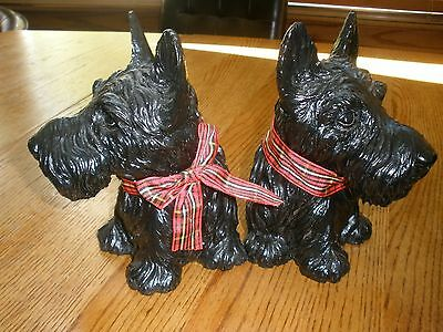 Scottish Terrier Bookends W/plaid Ribbons-Pair-Really Cute-Need A Good Home!