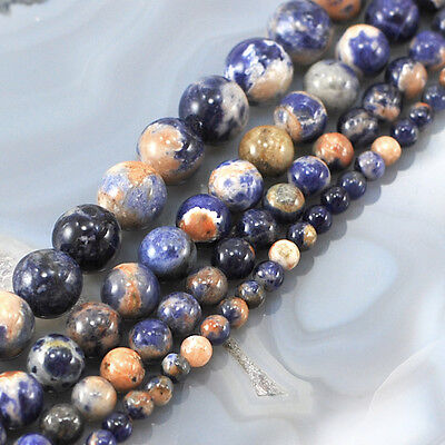 "Wholesale Natural Smooth Gold/Blue Sodalite Round Beads 15"" 4,6,8,10mm"