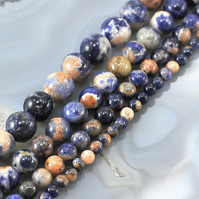 "Wholesale lot Natural Smooth Gold/Blue Sodalite Round Loose Beads 15"" 4,6,8,10mm"
