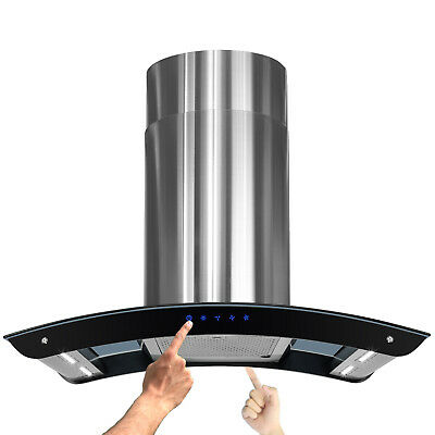 """New 36"""" Island Mount Stainless Steel Range Hood Vent Exhaust w Bright LED Strips"""