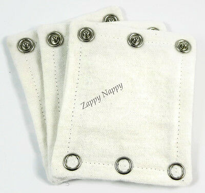 New Onesie/bodysuit extenders sample pack of 2. White MCN. Cloth Nappy. Nappies