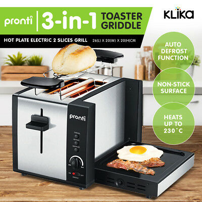 PRONTI 3-in-1 TOASTER GRIDDLE HOT PLATE ELECTRIC 2 SLICES GRILL RCM APPROVED