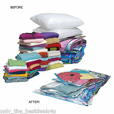 12 X Large Space Saving Storage Vacuum Bags Clothes Bedding Organiser Under Bed
