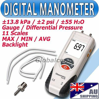 AU Air Pressure Meter ±13.79kPa Digital Manometer Gauge & Differential Pressure