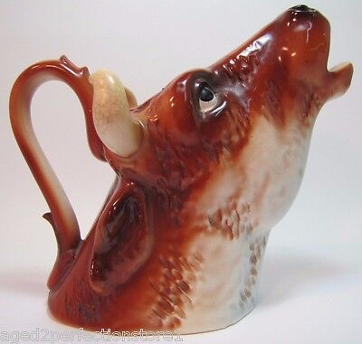 Antique Porcelain Austria Cow Pitcher Creamer larger ornate figural fine details