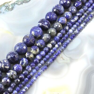 "AA+ Natural Blue Sodalite Faceted Round Spacer Loose Beads 15"" 3,4,6,9,12mm"