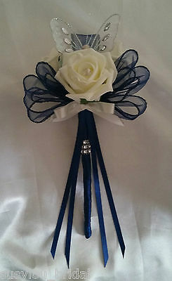 NAVY  Bridesmaid Butterfly Wands Ivory Roses Bows Ribbon Diamante Satin