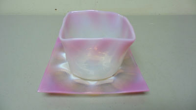 Beautiful Antique French Pink Opalescent Art Glass Square Bowl & Under Plate