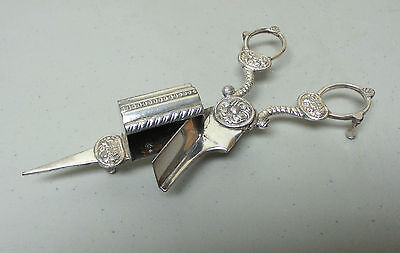 Ornate Pair Antique Silver Plate Candle Snuffer / Scissors