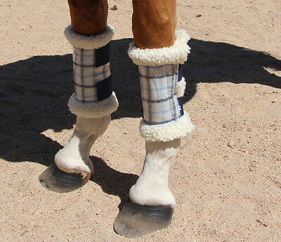 Capriole Horse Light blue & Blue collarcheck top sherpa base work paddock boots