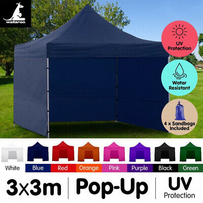 3x3 WALLAROO POP UP OUTDOOR GAZEBO FOLDING TENT MARKET PARTY MARQUEE CANOPY