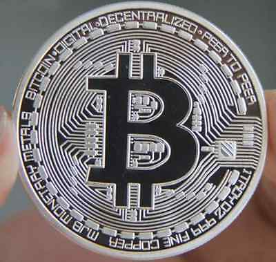 Silver Plated Bitcoins Coin Collectible Gift Physical BTC Coin Art Collection Yu