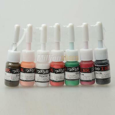 Professional 7 Color Tattoo Makeup Inks Supply Pigment Complete Set 1/2OZ Bottle