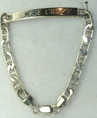 Vintage 1980's Italy Italian Sterling Silver Horse Crazy Id Bracelet
