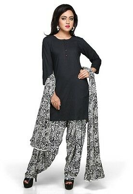 Black Cotton Readymade Patiala Kameez 0083