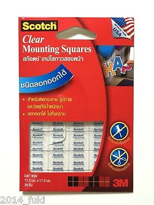 3M Scotch Clear Mounting Squares Cat859 [Transparent Double Sided Adhesive Tape]