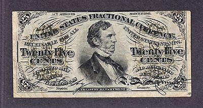 """US 25c Fractional Currency """"a"""" w/ Obverse Plate #10 Capture FR 1295 VF-XF"""
