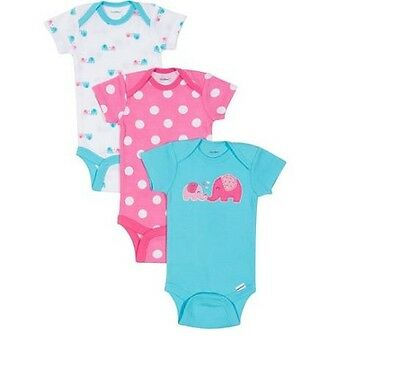 Gerber Baby Girl 3-Piece Elephant/Polka Dots Onesies Size 12M BABY CLOTHES GIFT