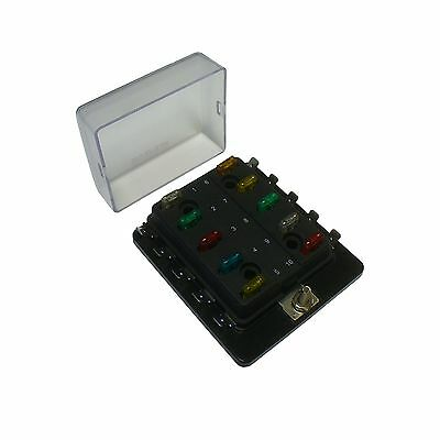 10 Way Mini ATM Blade Fuse Block Holder With Cover Side Terminal Bussed Power