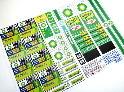 CUSTOM BP GASOLINE PETROL STATION STICKERS for MODELS , TOYS , LEGO , ETC