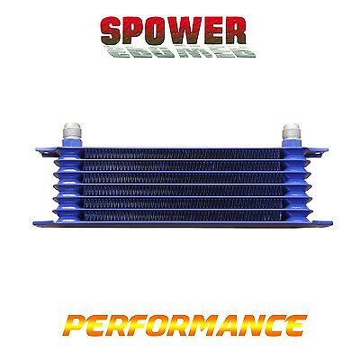 Universal 7 Row AN10 Engine Transmission Aluminum Oil Cooler Trust Style Blue