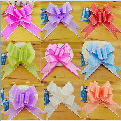10P 50mm Large Bows Pull Flowers Holiday Prom Wedding Car Decor Show Party Decor