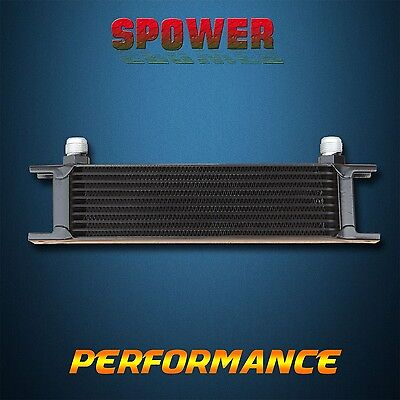 Universal 10 Row AN10 Engine Transmission Aluminum Oil Cooler Mocal Style Black