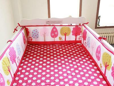 Baby Crib Cot Bassinette Bumper Padded & Quilted Full Surround 4pc Pink