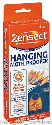 Pack of 4 ZENSECT Hanging Moth Clothes Killer Cassettes MOTH BALL REPLACEMENT