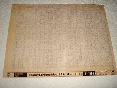 Volkswagen Passat/santana Mod.82-84 (C,d,e) Parts Microfiche Set Of 1 - Jan.1991