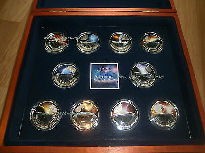 COMPLETE COLLECTION! Meteorite coins Fiji $10 Cosmic Fireballs, 2012, 2013, BOX!