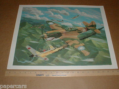 Flying Tigers WWII Military Aircraft fighter warfare US Chinese Air Force poster
