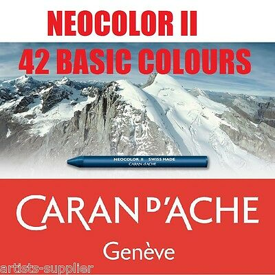 Caran d'Ache NEOCOLOR® II Artists Water Soluble Wax Oil Pastels 42 Basic Colours