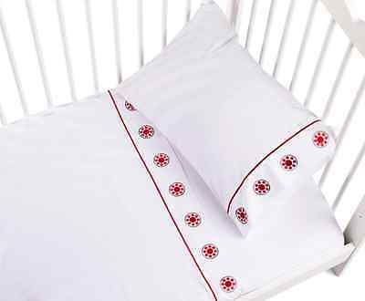 Baby Kas Forest Folk Cot Sheet Set White Red