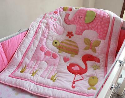 New High Quality Baby Girl Crib/Cot Embroidered Blanket Quilt Comforter Pink