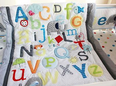 Alphabet New High Quality Baby Crib Cot Embroidered Blanket Quilt Comforter Blue