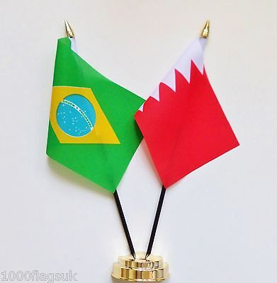 Brazil & Bahrain Double Friendship Table Flag Set