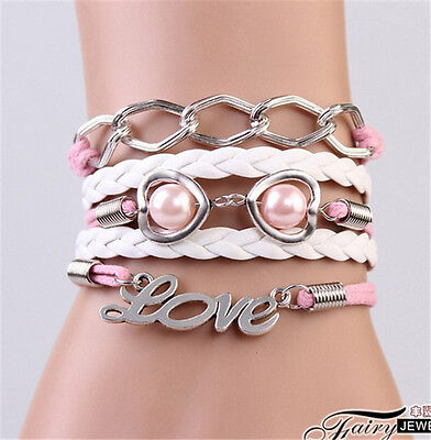 NEW Infinity LOVE Heart Pearl Friendship Antique Silver Leather Charm Bracelet