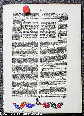 INCUNABLE [INCUNABULA] BIBLE LEAF OF 1487 ILLUMINATED  Kohberger incunable 15th