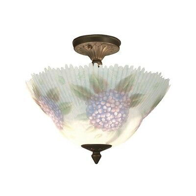 Dale Tiffany Dragonfly Hand Painted Semi Flush Mount, Antique Brass - TH15046