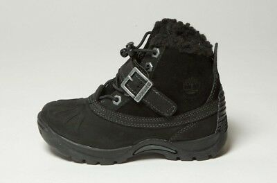 TIMBERLAND MALLARD BLACK ON BLACK SUEDE WINTER FUR BABY TODDLER BOOTS 91835