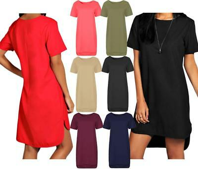 Womens Ladies Short Sleeve Step Drop Hem Shift Dress Crew Neck Midi Plain Ponte