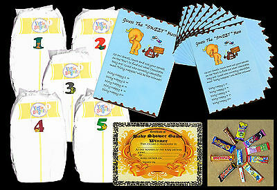 Baby shower games dirty nappies for baby boys with 10 player sheets blue colour