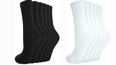12 Pairs Men`s Women Ladies Girls Ankle Socks Cotton Plain BLACK/WHITE Socks