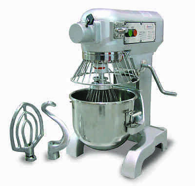 Omcan 10qt Planetary Mixer with Guard and 3 Attachments VFM10B