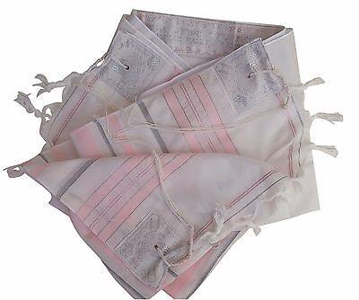 """Tallit Talis Prayer Shawl For Girls acrylic 24""""X73"""" Made in Israel -Pink/Silver"""